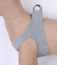 Platinum Gray Plain Ultrasuede Pet Dog Step In Harnesses  by Susan Lanci Designs