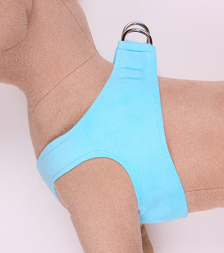 Plain Ultrasuede Pet Dog Step In Harness - Tiffi Blue by Susan Lanci Designs
