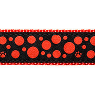 Red Polka Dots on Black, 1/2, 3/4 & 1.25 inch Dog & Cat Collar, Harness