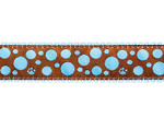 Light Blue Polka Dot Paws on Brown 1/2, 3/4 & 1.25 inch Dog & Cat Collar, Harness