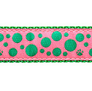 Green Polka Paws on Pink 1/2, 3/4 & 1.25 inch Dog & Cat Collar, Harness