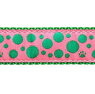 Green Polka Paws on Pink 1/2, 3/4 & 1.25 inch Dog & Cat Collar, Harness, Lead & Accessories