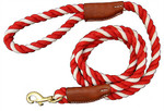 Natural Cotton and Leather Rope Pet Dog Leashes - Red