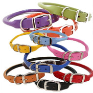 Rolled Round Leather Dog Collars - 11 Colors!