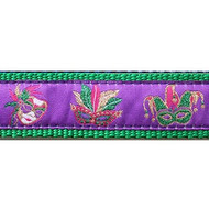 Mask Mardi Gras 3/4 & 1.25 inch Dog Collar, Harness, Lead & Acc.