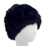 Long Hair Rabbit Textile Knit Hat with Fur Pom in Black