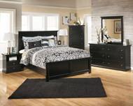Maribel Black 6 Pc. Dresser, Mirror, Chest & Queen Panel Bed