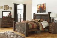 Quinden Dark Brown 7 Pc. Dresser, Mirror, King Poster Bed & Nightstand
