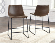 Centiar Brown/Black Upholstered Barstool (2/CN)