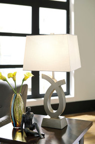 Amayeta Silver Finish Poly Table Lamp