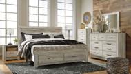 Bellaby Whitewash 6 Pc. Dresser, Mirror & King Panel Storage Bed