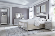 Coralayne Silver 8 Pc.California King Upholstered Panel Bedroom Collection
