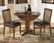 Stuman Medium Brown 3 Pc. Round Drop Leaf Dining Set
