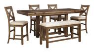 Moriville Gray Pc. Rectangular Counter Height Dining Set