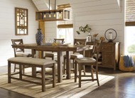 Moriville Gray 7 Pc. Rectangular Counter Height Dining Set