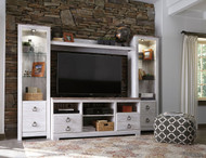 Willowton Whitewash Large TV Stand with Fireplace Option, 2 Piers & Bridge