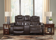 Warnerton Chocolate Power Reclining Loveseat/Console/Adjustable Headrest
