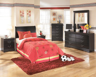 Huey Vineyard Black Twin Sleigh Headboard