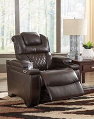 Warnerton Chocolate Power Recliner/Adjustable Headrest