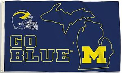 U OF M STATE OUTLINE  3X5' PRINTED FLAG