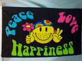 PEACE LOVE HAPPINESS 3X5' S-POLY FLAG