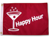 """HAPPY HOUR MARTINI RED 12X18"""" BOAT FLAG"""