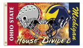 HOUSE DIVIDED OHIO STATE/ MICHIGAN  3X5' PRINTED FLAG