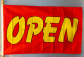 OPEN- RED & YELLOW 3X5' S-POLY FLAG