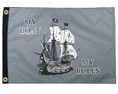 """MY BOAT MY RULES 12X18"""" BOAT FLAG"""