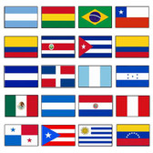 20 LATIN AMERICA COMPLETE SET OF NYLON FLAGS 2X3' TO 3X5'