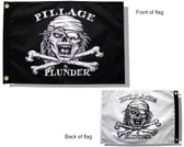 "PILLAGE & PLUNDER 12X18"" BOAT FLAG DUEL SIDED"