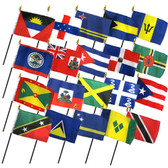"18 CARIBBEAN COUNTRIES 4X6"" TABLE TOP FLAGS ONLY SET"