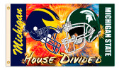 HOUSE DIVIDED MICHIGAN STATE / MICHIGAN  3X5' PRINTED FLAG