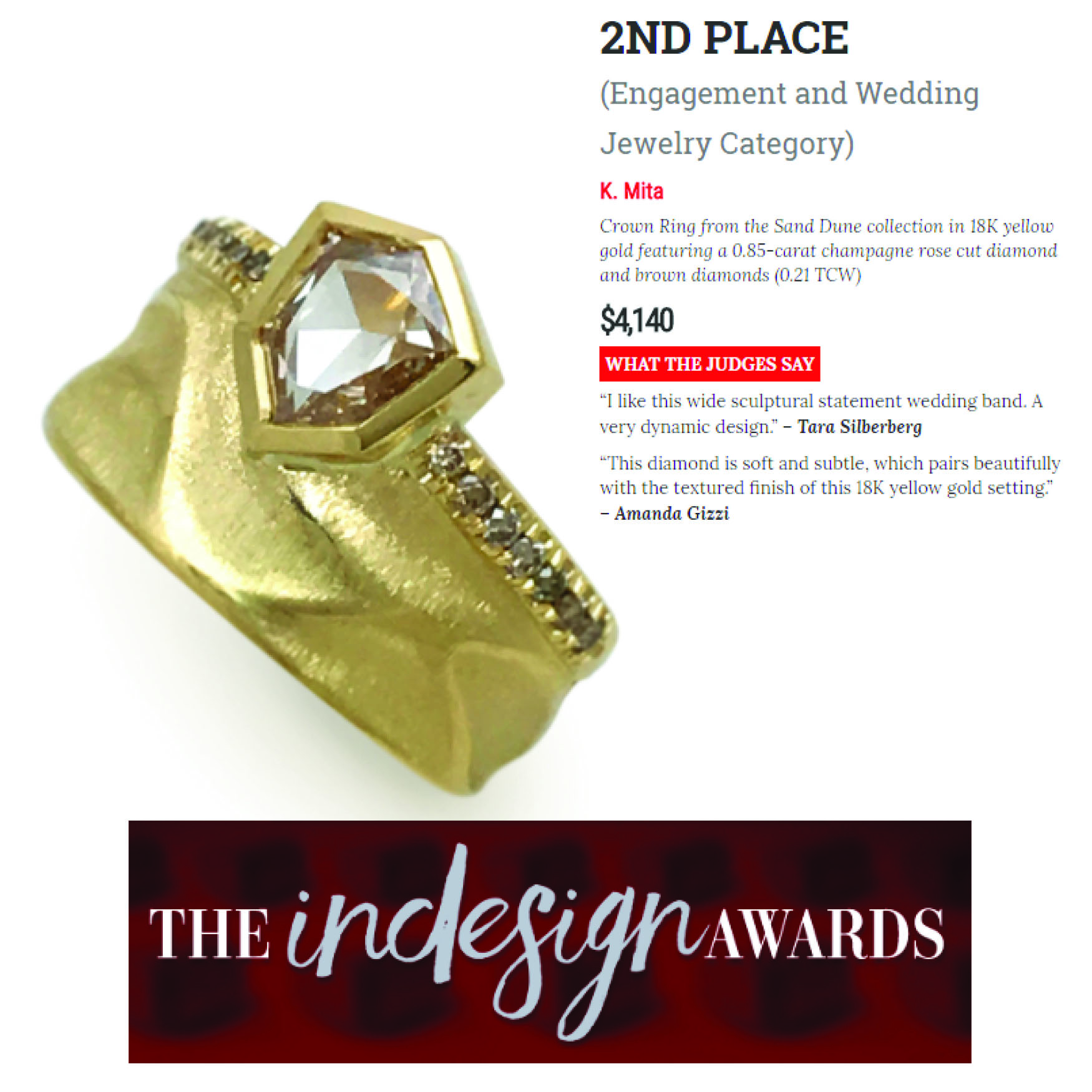 "Award Winning Crown ""Power"" Ring from K.Mita 