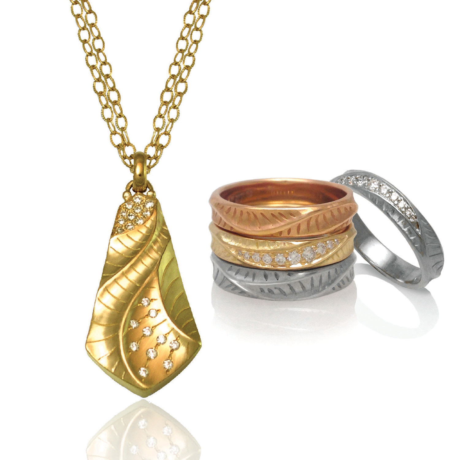 Kite Pendant and Stackable Rings from K.Mita's Sand Dune Collection