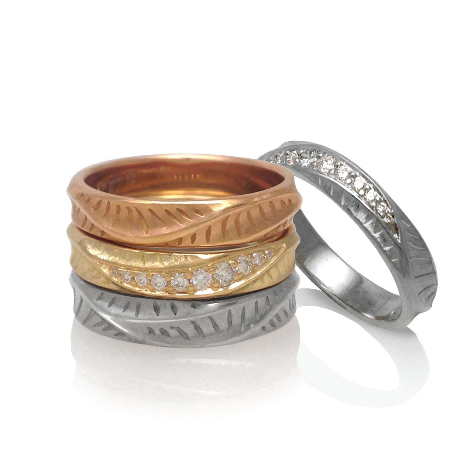 Stackable Rings and Wave Crest Ring by K.Mita | Sand Dune Collection