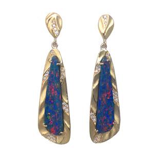 Blue Fire Opal Earrings | Handmade Earrings from K.Mita Design