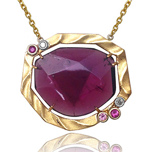 Golden Sweetbriar Pendant from K.Mita | Pink Tourmaline | Sand Dune Collection