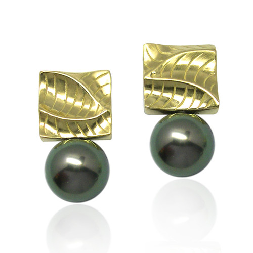 Small Square Pearl Earrings from Keiko Mita's Sand Dune Collection