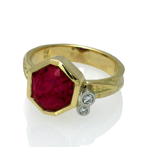 Flat Faceted Ruby Red Ring from Keiko Mita's Sand Dune Collection
