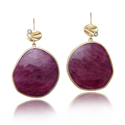 Keiko Mita's Red Moon Pebble Earrings from her Sand Dune Collection