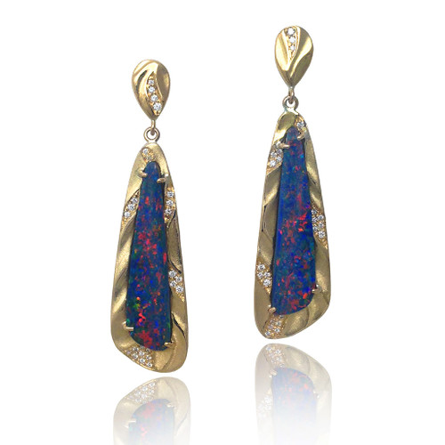 Blue Fire Opal Earrings, Fine Art Jewelry by K.Mita
