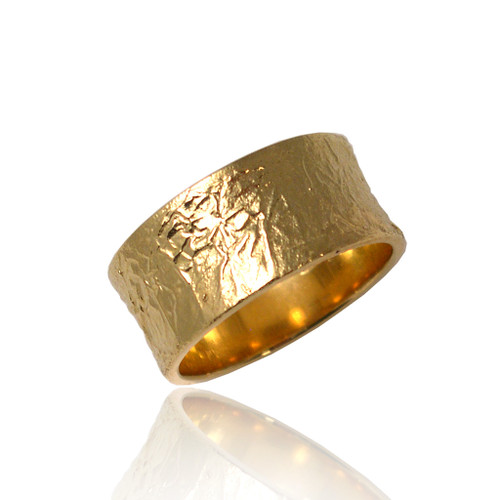 Washi Wide Concaved Ring by Keiko Mita, Textured Band Ring