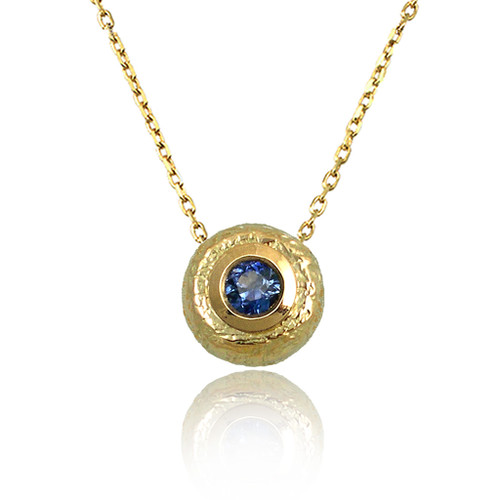 Washi Round Pendant by K. Mita, Textured Gold Pendant