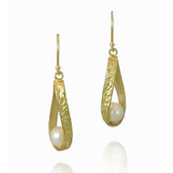 Washi Twisted Loop Earrings by K. Mita, Textured Gold Earrings