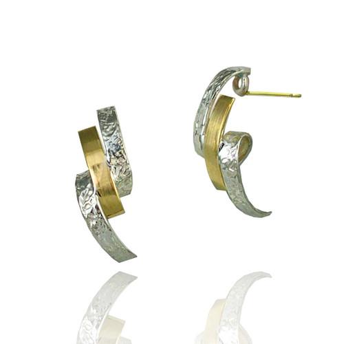 Washi Loop Earrings by K. Mita, Two Tone Texture Earrings