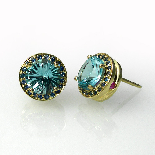Keiko Mita's Round Studs | Blue Topaz | Handmade Designer Jewelry