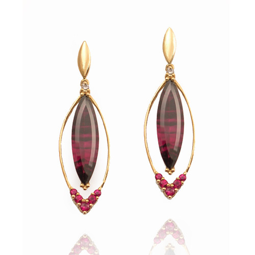 K.Mita's Long Marque Shaped Earrings |  Handmade Designer Jewelry