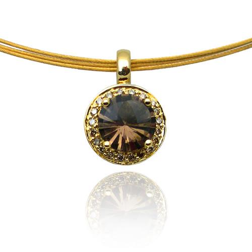 K.Mita's Round Smoky Quartz Pendant | Handmade Designer Jewelry