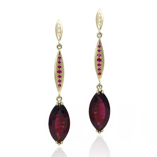 Keiko Mita's Tri-Marque Earrings | Rhodolite Garnet | Handmade Designer Jewelry
